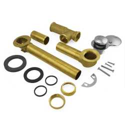 Pop Up Bathtub Drain Waste (Full Kit) w/ Chrome Plated Trim, 20GA Tubular Brass, 2-hole