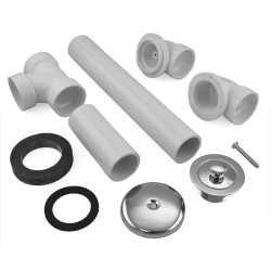 Lift and Turn Bathtub Drain Waste (Full Kit) w/ Chrome Plated Trim, PVC, 1-hole