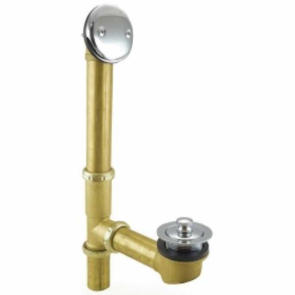 Lift and Turn Bathtub Drain Waste (Full Kit) w/ Chrome Plated Trim, 20GA Tubular Brass, 2-hole