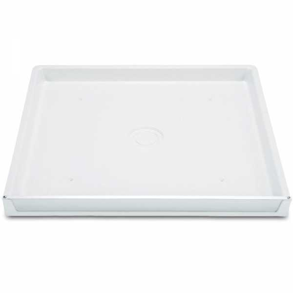 "32"" x 30"" x 2.5"" DuraPan Washer/Water Heater Pan w/ Side Drain Elbow Fitting Assembly, Flock White"