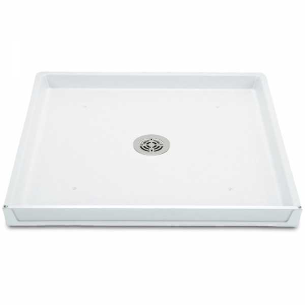 "32"" x 30"" x 2.5"" DuraPan Washer/Water Heater Pan w/ Center Drain Assembly, Flock White"