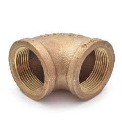 "1-1/4"" FPT Brass 90° Elbow, Lead-Free"