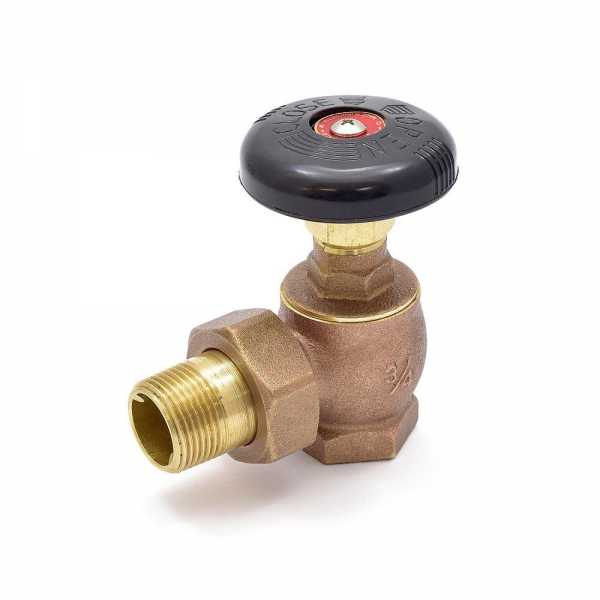 "3/4"" FIP x 3/4"" MIP Union Steam Angle Radiator Valve"
