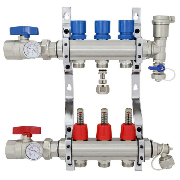"3 Branch Stainless Steel PEX Heating Manifold w/ 1/2"" PEX adapters"