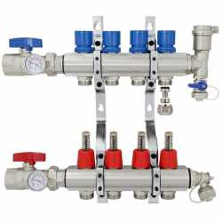"4 Branch Stainless Steel PEX Heating Manifold w/ 1/2"" PEX adapters"