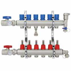 "6 Branch Stainless Steel PEX Heating Manifold w/ 1/2"" PEX adapters"