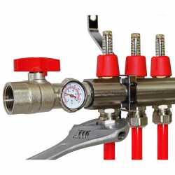 "6 Branch Stainless Steel PEX Heating Manifold w/ 1/2"" PEX adapters"