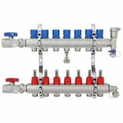 "7 Branch Stainless Steel PEX Heating Manifold w/ 1/2"" PEX adapters"