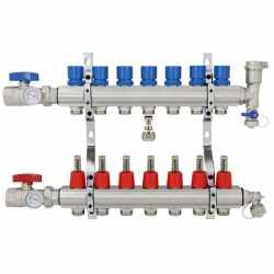 "7 Branch Stainless Steel PEX Heating Manifold w/ 1/2"" PEX adapters"