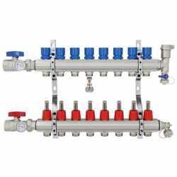 "8 Branch Stainless Steel PEX Heating Manifold w/ 1/2"" PEX adapters"