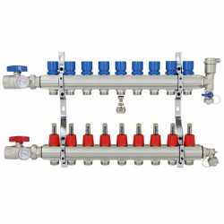 "9 Branch Stainless Steel PEX Heating Manifold w/1/2"" PEX adapters"