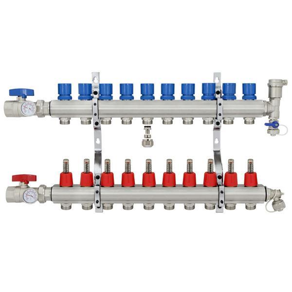 "10 Branch Stainless Steel PEX Heating Manifold w/1/2"" PEX adapters"