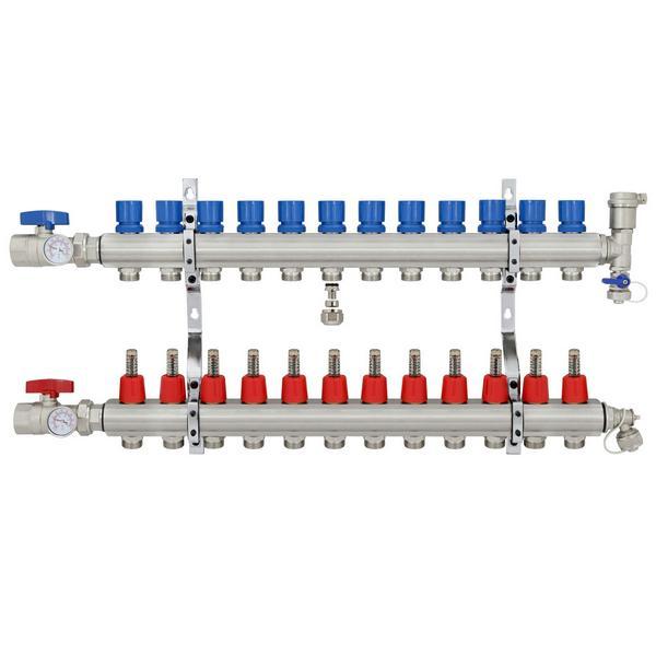 "12 Branch Brass Radiant Heat Manifold Set w/ 1/2"" PEX adapters"