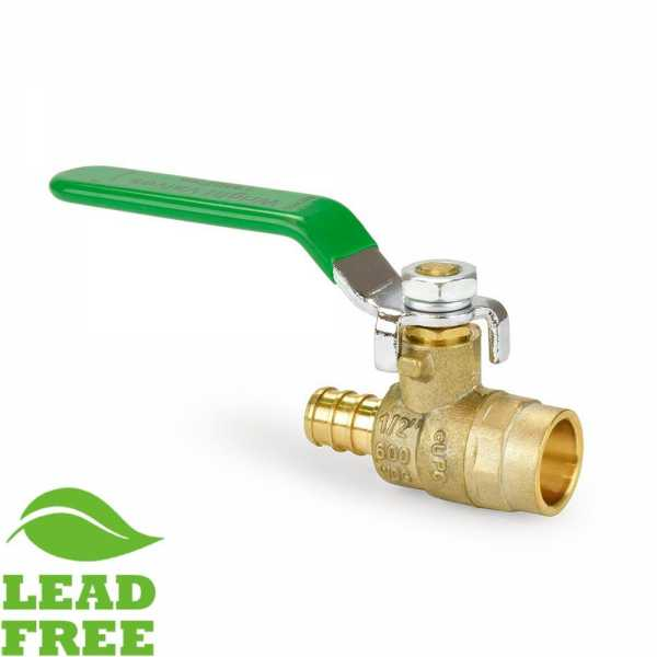 "1/2"" PEX x Sweat Brass Ball Valve, Full Port (Lead-Free)"