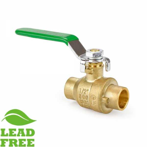 "1/2"" Sweat (Solder) Brass Ball Valve, Full Port (Lead-Free)"