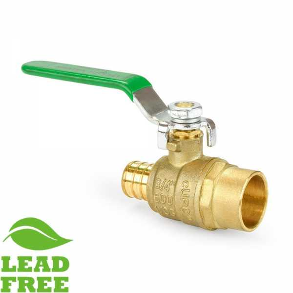 "3/4"" PEX x Sweat Brass Ball Valve, Full Port (Lead-Free)"