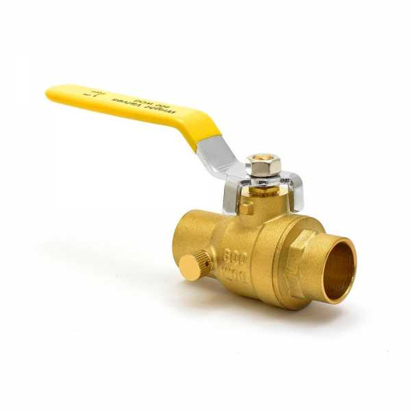 "3/4"" Sweat (Solder) Brass Ball Valve w/ Waste, Full Port"