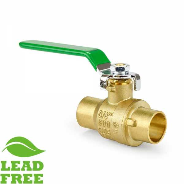 "3/4"" Sweat (Solder) Brass Ball Valve, Full Port (Lead-Free)"
