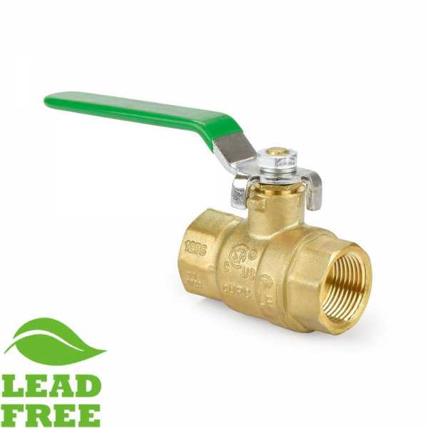 "3/4"" FIP x FIP Threaded Brass Ball Valve, Full Port (Lead-Free)"