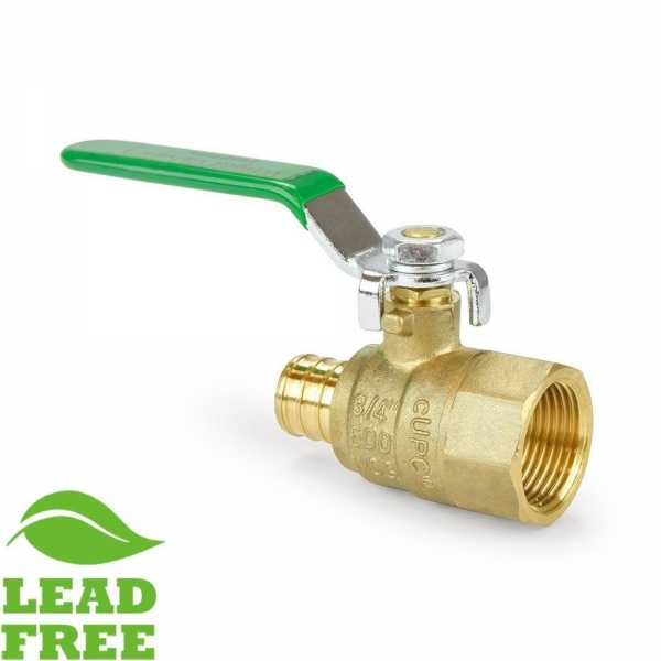 "3/4"" PEX x NPT Threaded Brass Ball Valve, Full Port (Lead-Free)"