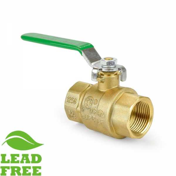 "1"" FIP x FIP Threaded Brass Ball Valve, Full Port (Lead-Free)"