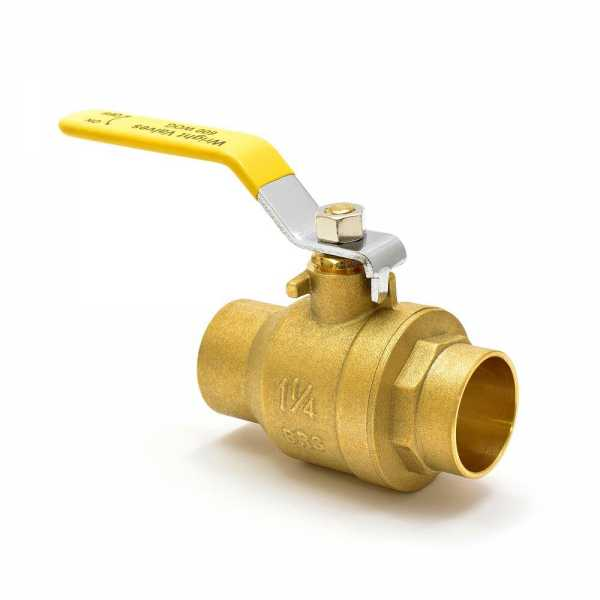"1-1/4"" Sweat (Solder) Brass Ball Valve, Full Port"