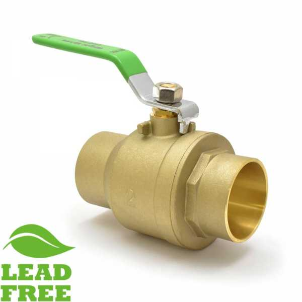 "2"" Sweat (Solder) Brass Ball Valve, Full Port (Lead-Free)"