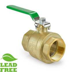 "2-1/2"" NPT Threaded Brass Ball Valve, Full Port (Lead-Free)"