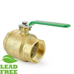 "3"" NPT Threaded Brass Ball Valve, Full Port (Lead-Free)"
