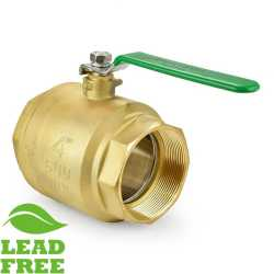 "4"" NPT Threaded Brass Ball Valve, Full Port (Lead-Free)"