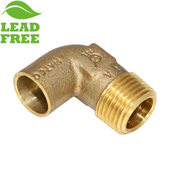 """1/2"""" Sweat x 1/2"""" MPT Cast Brass Elbow, Lead-Free"""