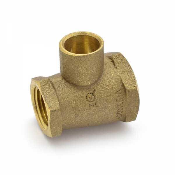 """3/4"""" x 1/2"""" x 1/2"""" (FPT x FPT x C) Cast Brass Tee, Lead-Free"""