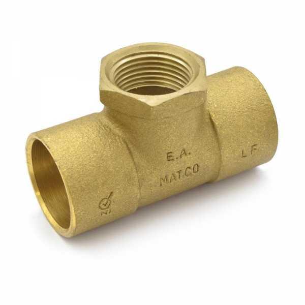 """1"""" x 1"""" x 3/4"""" (C x C x FPT) Cast Brass Tee, Lead-Free"""