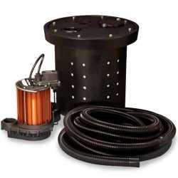 "Crawl Space Sump Pump Kit w/ 16.5"" x 15"" Basin, 1/3HP Sump Pump w/ 10' cord, 24' Drain Hose & Check Valve, 1/3HP, 115V"