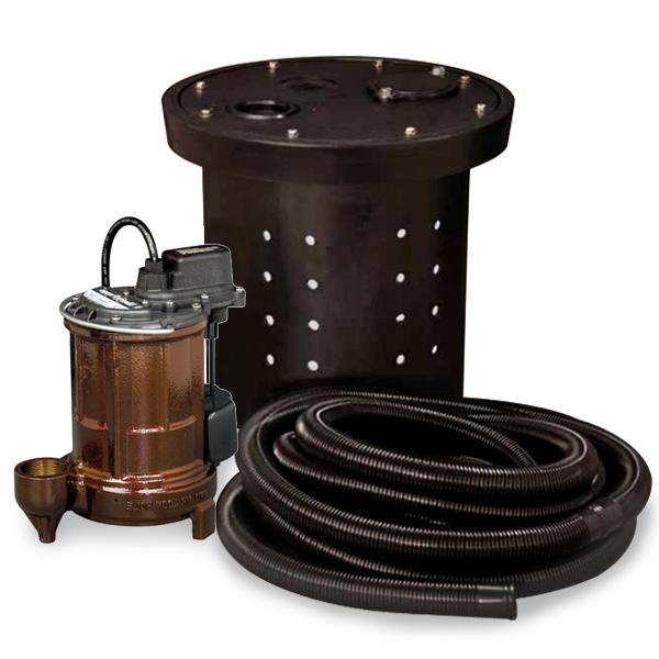 "Crawl Space Sump Pump Kit w/ 16.5"" x 15"" Basin, 1/3HP Sump Pump w/ 10' cord, 24ft Drain Hose & Check Valve, 1/3HP, 115V"