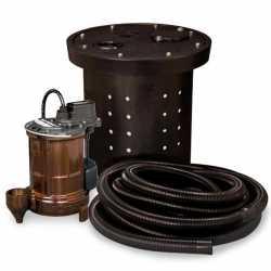 "Crawl Space Sump Pump Kit w/ 16.5"" x 15"" Basin, 1/3HP Sump Pump w/ 10' cord, 24ft Drain Hose & Check Valve, 1/3HP, 115V"