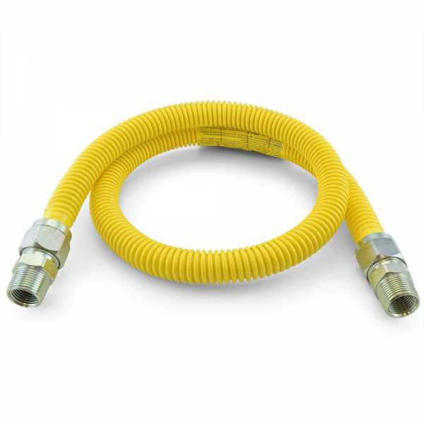 """3/4 ID (7/8"""" OD) ProCoat Coated Stainless Steel Gas Connector w/ 3/4"""" MIP Fittings (48"""" Length)"""""""