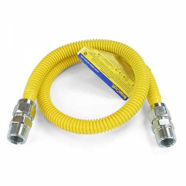 """1/2 ID (5/8"""" OD) ProCoat Coated Stainless Steel Gas Connector w/ 3/4"""" MIP Fittings (36"""" Length)"""""""