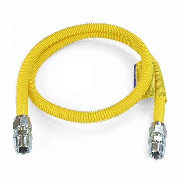 """1/2 ID (5/8"""" OD) ProCoat Coated Stainless Steel Gas Connector w/ 3/4"""" MIP Fittings (60"""" Length)"""""""