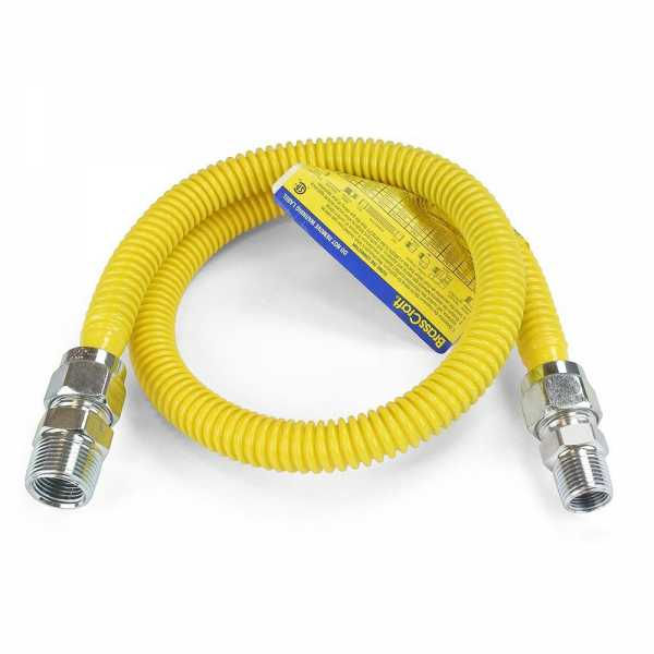 """36"""" ProCoat Stainless Steel Gas Connector, 3/4"""" MIP (1/2"""" FIP) x 1/2"""" MIP, 1/2"""" ID"""