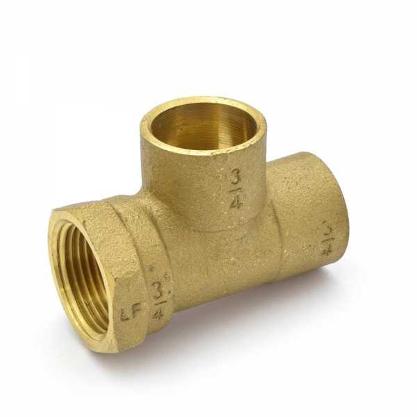 "3/4"" (C x FPT x C) Cast Brass Tee, Lead-Free"