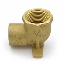"3/4"" FPT x 3/4"" Sweat Cast Brass Drop Ear Elbow, Lead-Free"