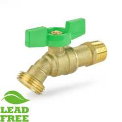 "1/2"" MPT Hose Bibb Ball Valve (1/4-Turn), Lead-Free"