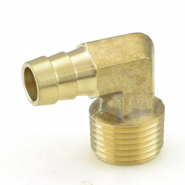 "1/2"" Hose Barb x 1/2"" Male Threaded Elbow, Brass"