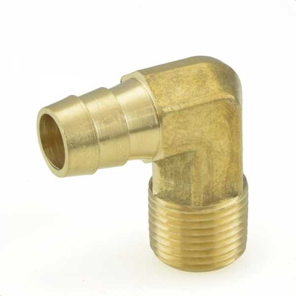 "1/2"" Hose Barb x 3/8"" Male Threaded Elbow, Brass"
