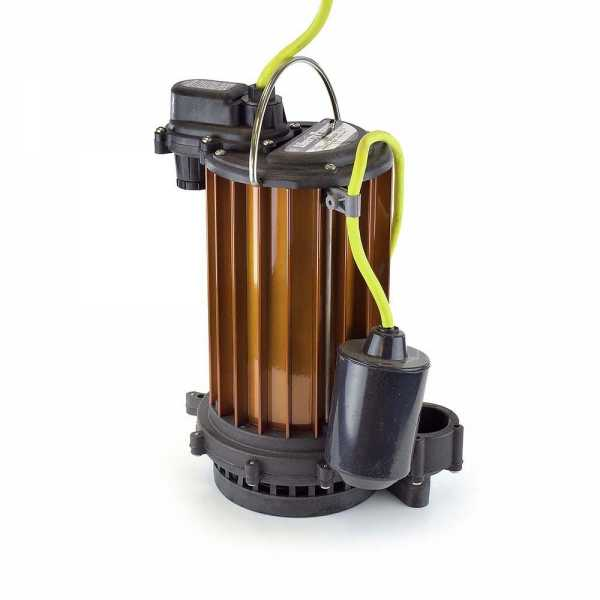 Automatic High Temperature Submersible Sump Pump, 1/2HP, 115V, 25' cord, Aluminum