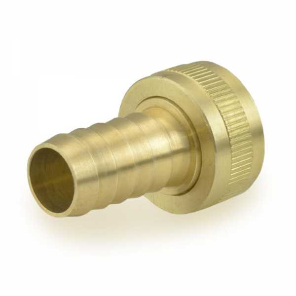 "3/4"" FGH x 5/8"" Hose Barb Swivel Brass Adapter, Lead Free"