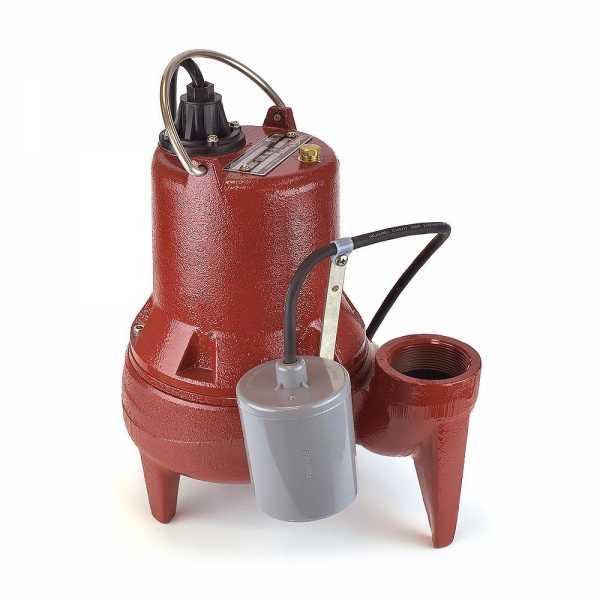 "Liberty Pumps LE51A 1/2 HP Automatic Sewage Pump w/ Piggyback Wide Angle Float Switch, 110V ~ 120V, 10"" cord"