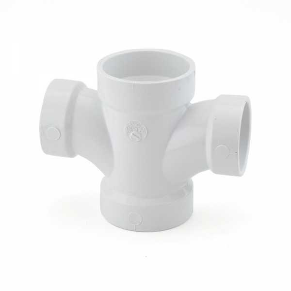 "2"" x 1-1/2"" PVC DWV Double Sanitary Tee"