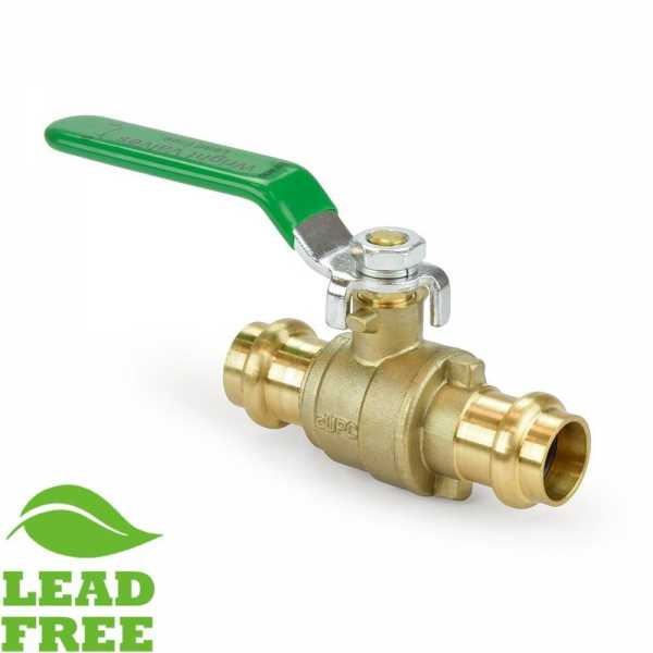 "1/2"" Press Brass Ball Valve, Full Port (Lead-Free)"